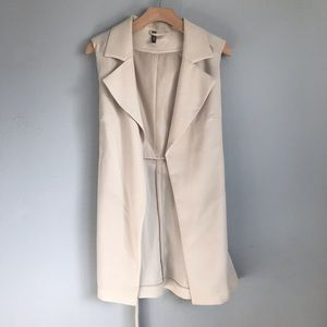 H&M Beige Off-White Long Belted Vest